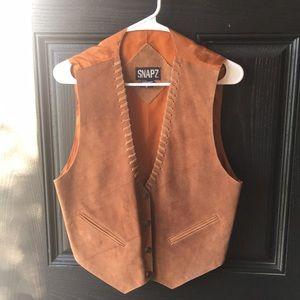 Snapz Brand Leather Cowboy Snap Button Vest